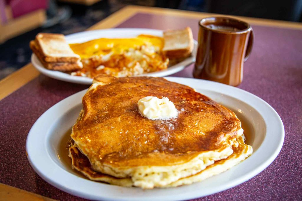 the best thing to do in Idaho Springs is eat! Try these pancakes with syrup and butter from Marion's